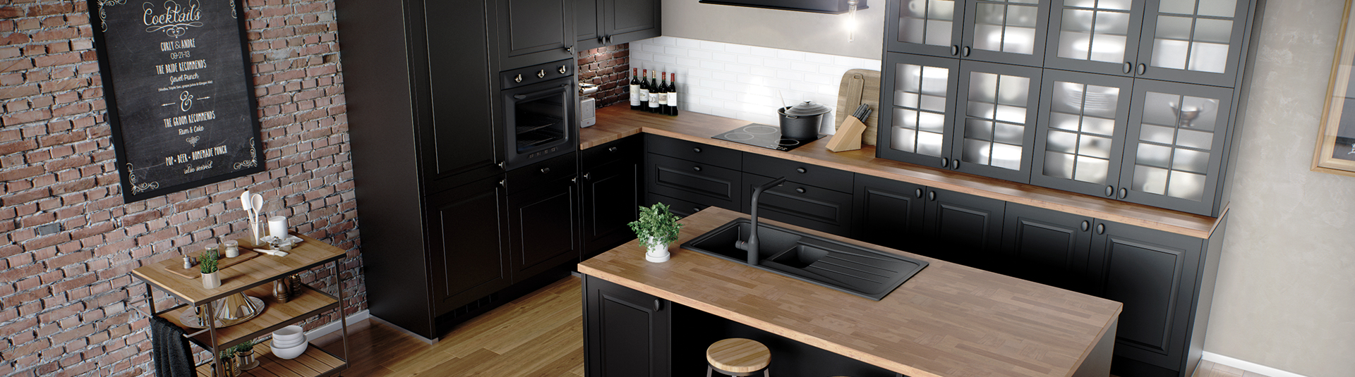 cuisine quip e noire en bois cuisines cottages ggo. Black Bedroom Furniture Sets. Home Design Ideas